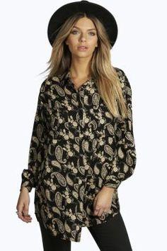 Anna Paisley Print Long Sleeve Oversized Shirt at boohoo.com