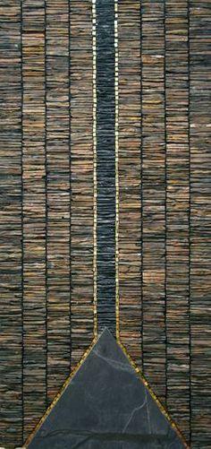 Chilled Margin - 122cms by 57cms (Scottish Slate & Venetian gold-leaf smalti)  by Dugald Macinnes