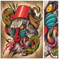 This is pretty badass. Love the dynamic feel and the color palette! Tattoo by David Tevenal.