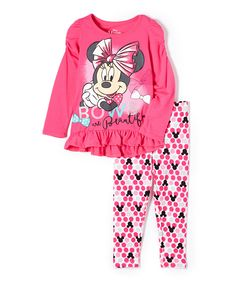 0d6a7aa4db3e Children s Apparel Network Minnie Mouse Pink Ruffle Pullover   Pants - Girls