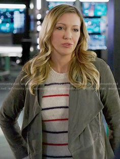 Laurel's red and blue striped sweater on Arrow.  Outfit Details: https://wornontv.net/56827/ #Arrow