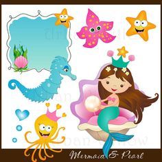 MERMAID & PEARL  clip art set Png and Jpeg by LittlePumpkinsPix