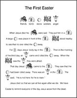 """The First Easter"" --Free printable picture + words story of the first Easter.  Great for teaching children what Easter is about and it works as a fun coloring sheet too!  (Scroll down to the bottom of the link for the printable)"