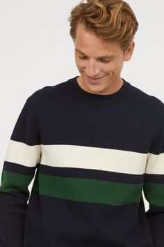 Jumper in a soft, closely-knit cotton blend with gently dropped shoulders, long sleeves and ribbing around the neckline and cuffs. Jumper, Men Sweater, Wardrobe Basics, Color Block Sweater, Sweater Fashion, White Man, Pulls, Mens Fashion, Pullover