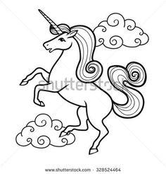 Cartoon Unicorn With Rainbow And Clouds