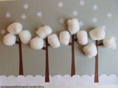 Arboles nevados dibujar con algodones la nieve.