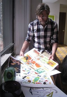 Todd Oldham working on pages from Charley Harper: Animal Kingdom, forthcoming November 2012 (AMMO Books)