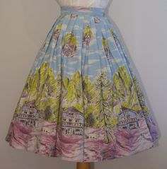 1950s novelty Swiss chalet print skirt