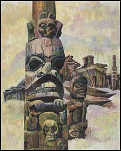 Nell Mary Bradshaw, Village and Poles, Haida Beaver Pole of Skidegate, oil on board, 30 x 24 in
