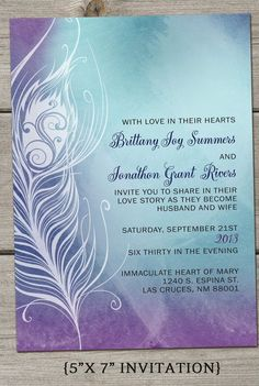 Ombre Pea Feather Wedding Invitation By Thefunkyolive On Etsy