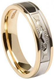 Claddagh Wedding Ring Two Tone Gold