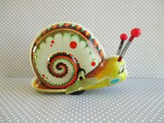 Vintage Wind Up Snail Tin Toy by 5and10vintage on Etsy