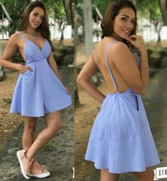 Looking very cute wearing beautiful open back deep neck mini dress Stylish Dresses, Cute Dresses, Casual Dresses, Short Dresses, Casual Outfits, Summer Dresses, Vestidos Sexy, Dress Outfits, Cool Outfits