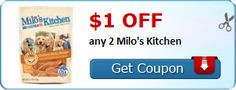 New Coupon!  $1.00 off any 2 Milo's Kitchen - http://www.stacyssavings.com/new-coupon-1-00-off-any-2-milos-kitchen-2/