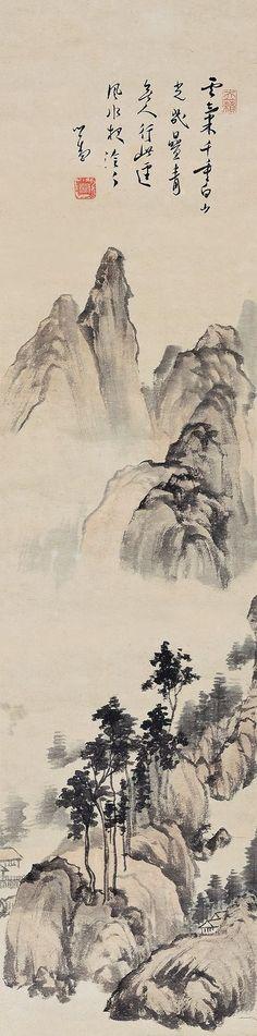 PU RU LANDSCAPE   ink and color on paper; hanging scroll 91.5 x 21.5 cm. (36 x 8 1/2 in.) 溥儒(1896-1963) 白雲青山圖   設色紙本 立軸 91.5 x 21.5 cm. (36 x 8 1/2 in.) 款識:雲氣千重白,山光幾疊青。無人行此徑,風水夜泠泠。心畬。 鈐印:「心畬」、「溥儒」、「天籟」。