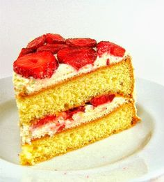 One Perfect Bite: Swedish Strawberry Cream Cake Strawberry Cream Cakes, Cherry Cake, Strawberries And Cream, Swedish Recipes, Sweet Recipes, Cake Recipes, Summer Desserts, Just Desserts, Delicious Desserts