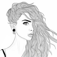 art, black and white, draw, drawing, girl, grunge, hair, outline