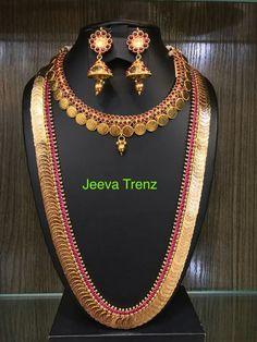 Jewelry Design Earrings, Gold Earrings Designs, Gold Jewellery Design, Bead Jewellery, Necklace Designs, Gold Temple Jewellery, Silver Jewellery Indian, Kasumala Designs, Kerala Jewellery