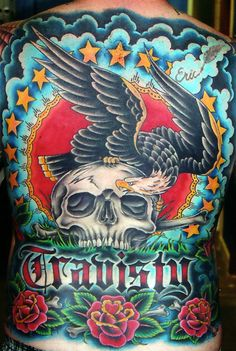 ~ New Traditional tattoo ~ full back eagle and skull by Oliver Peck Full Back Tattoos, Cover Up Tattoos, Tattoo Skin, Tattoo You, Oliver Peck Tattoos, Weird Tattoos, Awesome Tattoos, Tatoos, Famous Tattoo Artists