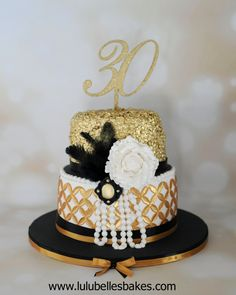 Great Gatsby cake with edible gold sequins and pearls