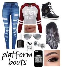 """Platform Boots"" by abbie0987 ❤ liked on Polyvore featuring Tommy Hilfiger, WithChic, Essie, Bling Jewelry and Ray-Ban"