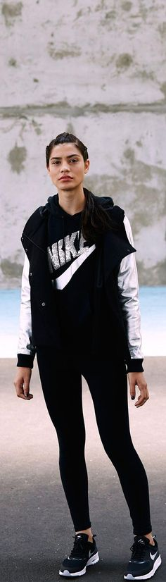 Beat winter at its own game. Rock a look with a classic style and modern fit. The Nike Destroyer Butterfly Jacket, Rally Sequin Pullover, Leg-A-See Logo Shine Leggings and Air Max Thea shoe.    Check out their website for more Fitness Gear for Ladies. Super nice stuff that they carry