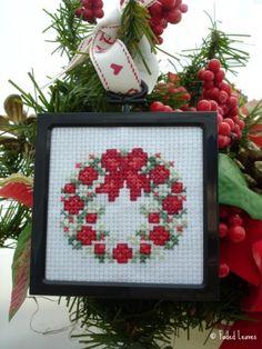 christmas wreath ornament counted cross stitch in black frame fadedleaves seasonal on artfire