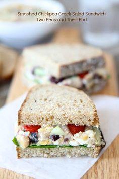 Smashed Chickpea Greek Salad Sandwich Recipe on twopeasandtheirpod.com Love this sandwich!