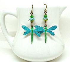 Dragonfly earrings  blue green dragonfly by sparklecityjewelry
