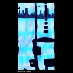 Chicago Sky Line Custom Nike Elites by TheSickestSocks on Etsy, $35.99
