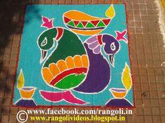 Diwali Rangoli , Kolam , Designs Images: Peacock Rangoli Designs