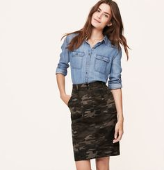Nice back-to-school outfit for me ;).  My chambray shirt is less heavy.  Petite Camo Pencil Skirt | Loft