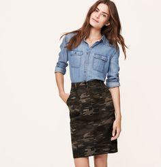 Camo Pencil Skirt | Loft