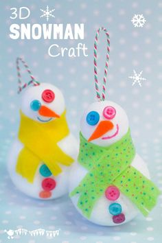 Easy 3D Snowman Craft for kids - a great Christmas ornament for the tree and for small world Winter play. Kids will love how quick it is to make a Snowman friend.