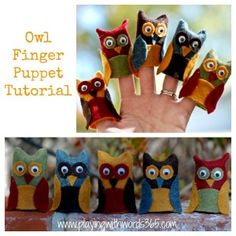 Owl Finger Puppet Tutorial  - Pinned by @PediaStaff – Please Visit  ht.ly/63sNt for all our pediatric therapy pins