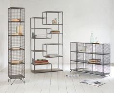 Warehouse Home's new professional organisation expert, Vicky Silverthorn, shares her tips and advice for creating a well organised and clutter free home with industrial style mesh metal storage solutions. Loft Furniture, Shelf Furniture, Iron Furniture, Furniture Design, Door Dividers, Warehouse Home, Industrial Shelving, Industrial Style, Clutter Free Home