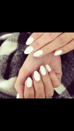 White, short, almond nails. LOVE