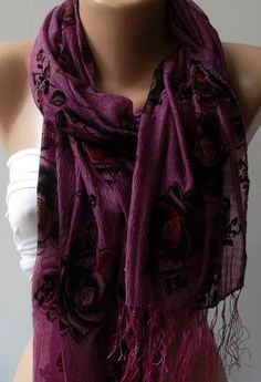 Purple / Elegance Shawl / Scarf with Lace Edge by womann on Etsy, $13.50