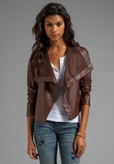BB Dakota Jasper PU Drapey Front Jacket in Coffee from REVOLVEclothing.com
