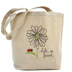Get a plain bag and some fabric pens/paints and copy this.