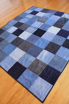 Upcycled Denim Quilt on Etsy - quilt patterns Denim Quilts, Denim Quilt Patterns, Blue Jean Quilts, Denim Patchwork, Scrappy Quilts, Artisanats Denim, Denim Rug, The Smiths, Denim Scraps