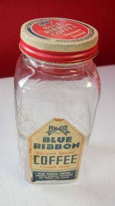 RARE Vintage BLUE RIBBON COFFEE 1lb Glass Jar w/ Label, Lid & Insert Cap Vintage Jars, Vintage Food, Antique Coffee Grinder, Coffee Jars, Rustic Mason Jars, Baby Food Jars, Coffee Packaging, Letter B, Vintage Coffee