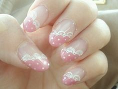 pink & white lace nails