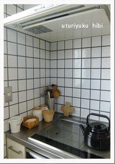 キッチンタイル参考 目地はグレー