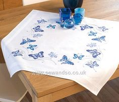 Buy Blue Butterflies Table Cloth, 80 x 80cm Stamped Cross Stitch Kit Online at www.sewandso.co.uk
