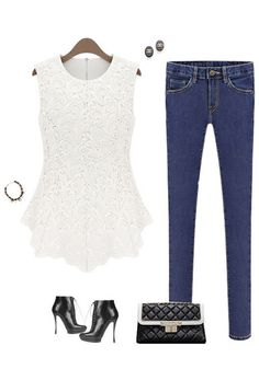 Crochet Lace Tank - White