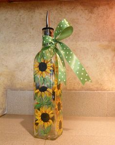 Hand Painted Sunflower Olive Oil Bottle
