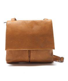 Cognac Leather Messenger Bag
