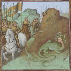 Cato's battle with Libyan serpents. Faits des Romains. Paris, c. 1460-1465. Artist: Maître de Coëtivy. Bibliothèque nationale de France, Département des manuscrits, Français 64, detail of f. 390r