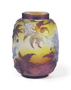 EMILE GALLE (1846-1904)  A 'CLEMATIS' MOLD-BLOWN GLASS VASE, CIRCA 1900